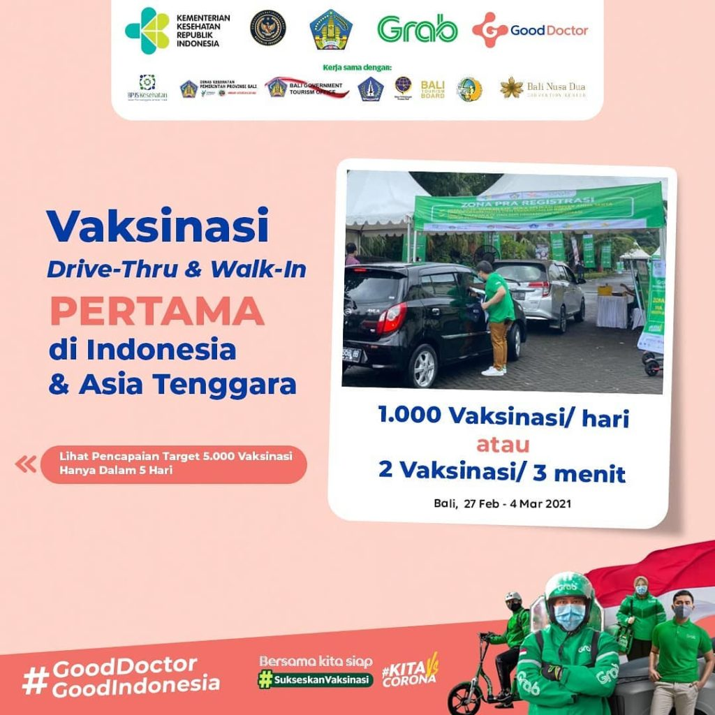 Grab and Good Doctor Vaccination Services Exceed 5,000 Doses in Bali